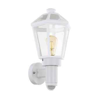 1 Light Outdoor Wall Lantern with PIR Motion + Dawn / Dusk Sensor White IP44, E27