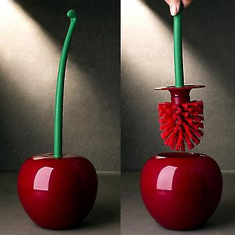 Creative Lovely Cherry Shape Lavatory Brush, Toilet Holder Set