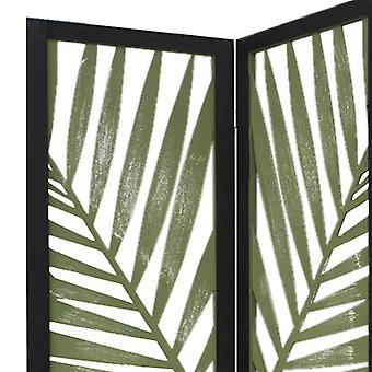 3 Panel Green Room Divider with Tropical leaf
