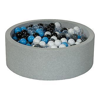 Ball pit 90 cm z 450 kulkami czarny, biały, przezroczysty, szary, jasnoniebieski