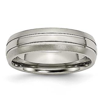 Titanium Engravable Grooved 6mm Brushed and Polished Band Ring Jewelry Gifts for Women - Ring Size: 5 to 13