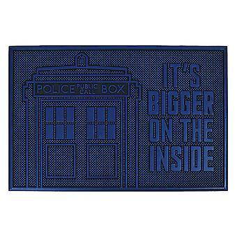 Doctor Who gummi tardis dørmåtte sort / blå, 100% gummi, skridsikker.