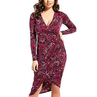 Guess   Floral Print Midi Wrap Dress