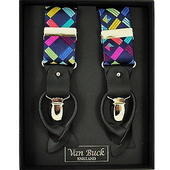 Krawaty Planet Van Buck Platinum Navy z kolorowymi kwadratowymi wzorzyste męskie i apos;s Spodnie szelki