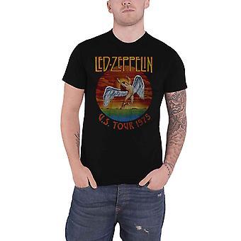 Led Zeppelin T Shirt USA Tour 75 Band Logo new Official Mens Black