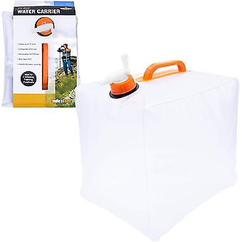 Milestone Foldable Roll Up Camping Water Carrier With Tap Grey 15L