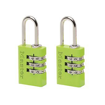 Master Lock Aluminium Combinatie Padlocks 3 cijfers kleur 20mm x 2 MLK7620TCOL