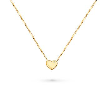 Baby Necklace Full 18K Gold Heart - Yellow Gold
