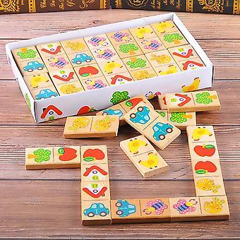 28st/set Träfrukt / Bilparning Domino Puzzle Blocks- Pedagogisk leksak