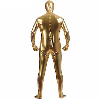 AltSkin Adult/Kids Full Body Stretch Fabric Zentai Suit - Zippered Back One Piece Stretch Suit Costume - Metallic Gold