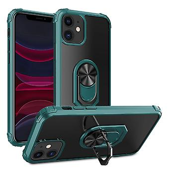For iPhone 11Pro Shockproof Transparent TPU + Acrylic Protective Case with Ring Holder(Dark Green)
