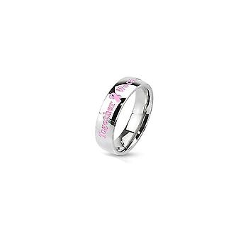 Pink awareness stainless steel dome band ring with epoxy letters