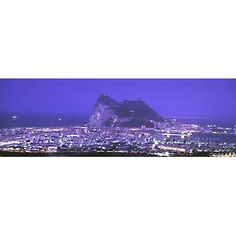 High Angle View Of A City Gibraltar Spain Poster Print