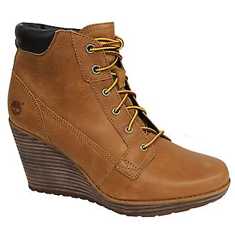 Timberland Meriden Lace Ankle Wedge Womens Boots Shoes Wheat Leather A11YS B82E
