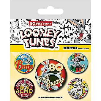 Looney Tunes 80th Anniversary Bugs Bunny Badge Set (Pack de 5)