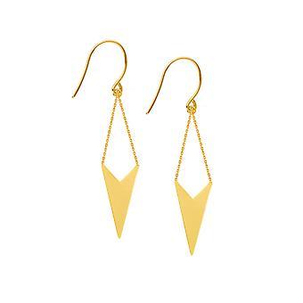 14K Yellow Gold Shiny Drop Triangle Earrings