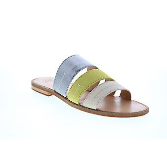 Frye & Co. Evie 3 Band Slide  Womens Green Leather Slides Flats Shoes