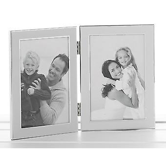 Plain White Silver Promotion Dubbel ram 6x4