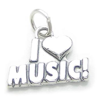 I Love Music Sterling Silver Charm .925 X 1 Musician Dance Charms - 3791