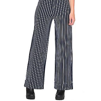 Striped Wide Leg Short Trousers Short Leg - Dark Blue & White
