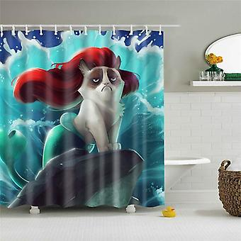 Waterproof Shower Curtain For Bathroom, Mermaid Print, Bathtub Curtains, Opaque