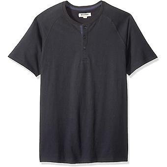 Goodthreads Men's Short-Sleeve Sueded Jersey Henley, Zwart, X-Small