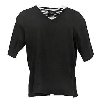 G.I.L.I. Got It Love It Women's Top Cut-Out V-Neck Elbow Sleeve Black A375516
