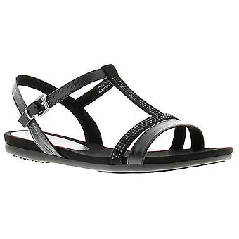 Aria womens ladies flat sandals black UK Size