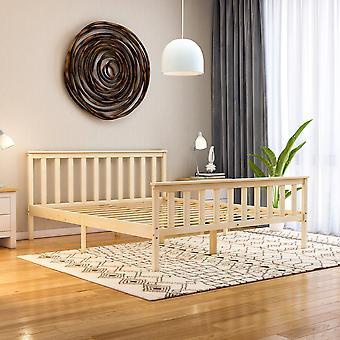 Milan King Size Wooden Platform Bed High Foot End 5ft, Pine