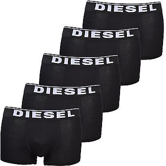 Diesel 5-Pack Classic Logo Boxer Trunks, Black