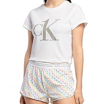 كالفن كلاين المرأة CK واحد تي شيرت / قصيرة PJ مجموعة، الكبرياء الألوان البسيطة CK شعار واحد طباعة، X-Large