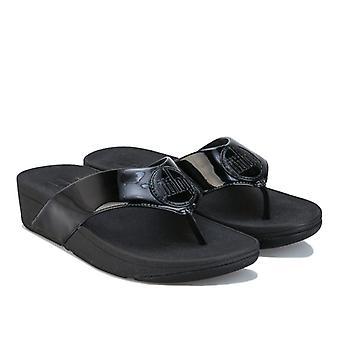 Women's Fit Flop Demelza Logo Toe Stringtrosor i svart