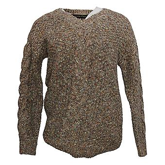 ADRIENNE VITTADINI Women's Printed Long Slv V-Neck Sweater Brown 1446450