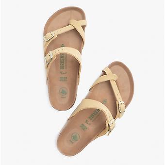 Birkenstock Mayari 1019239 (reg) Ladies Birko-flor Nubuck Cross Strap Sandals Latte Cream