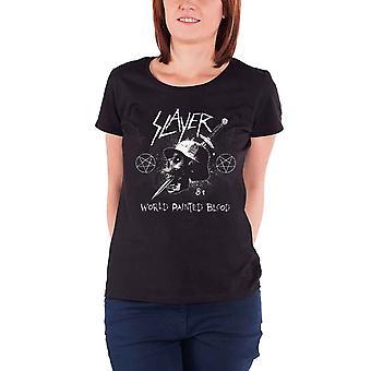 Slayer T Shirt Dagger Skull Band Logo new Official Womens Skinny Fit Black
