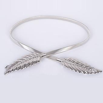 Tvar listu Elastické pásy Stretch Skinny Waist Cummerbunds Kovový pás pro ženy, Délka pásu: 70cm (Stříbrná)