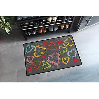 Salonloewe dörrmatta Valentine Hearts färgglada 50 x 75 cm tvättbar