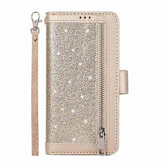 Leather case with 9 card slots for Samsung Galaxy M10/ A10 - Golden