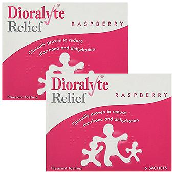 2 Pack Dioralyte Relief Oral Rehydration Therapy Raspberry Powder, 6 Sachets