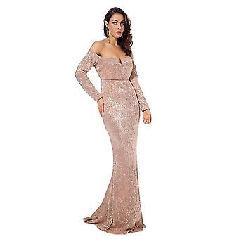 女性ディープVカラー長袖弾性スパンコール素材ロングドレス