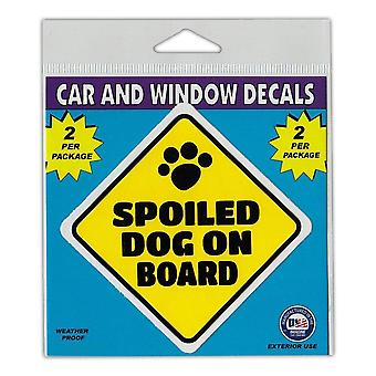 """Window Decals, 2-pack, Caution Spoiled Dog On Board, 3"""" X 3"""""""