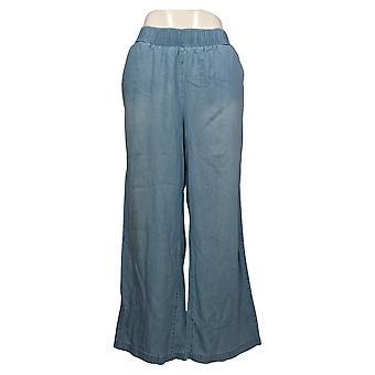 DG2 af Diane Gilman Women's Petite Pants Smocked Palazzo Blue 656627