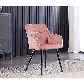 Lusso Lux Velvet Finish Dining Chair | lyserød