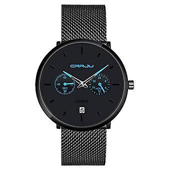 SUPBRO Ultra thin men's watches with minimalist black quartz with black mesh strap(10)