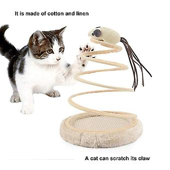 Interactive Cat Toy Plush Foldable Rotating Funny Kitten Mouse Toy Scratching Pet Games
