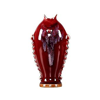 oxblood color transitional glaze fish ceramic vase