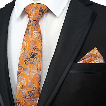 Oranssi & hopea kukka suunnittelija tie & tasku neliö asettaa