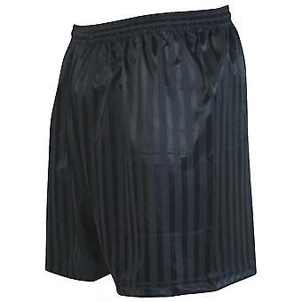Tarkkuus raidallinen mannermainen jalkapallo shortsit 30-32 tuumaa musta