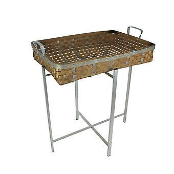 Wood Metal Woven Basket Tray Table Folding Stand Decorative Display Bowl Shelf