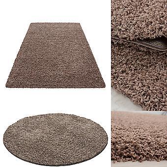 Alfombra de pila alta sala de estar Langflor Shaggy Monocromo Uni Moca marrón claro barato Precio martillo 5 cm altura de la pila